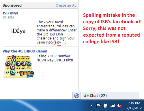 Indian School of Business's iDiya Facebook Ad Spelling Mistake
